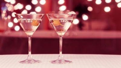 Martini glasses in a bar setting